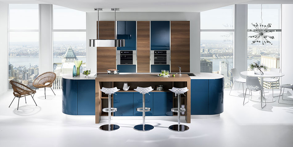 cuisine galbe bleu canard porte laqu e brillante. Black Bedroom Furniture Sets. Home Design Ideas
