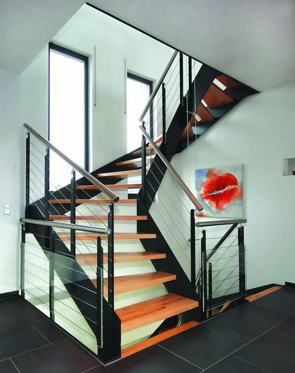 Escaliers loft 26 fabricant d 39 escaliers de la gamme loft 26 menuiserie vignon - Escalier verre et metal ...