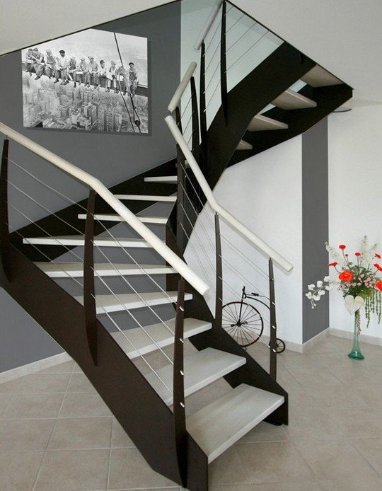 escalier limon loft 2 quart tournant rampe metal inox et bois drome. Black Bedroom Furniture Sets. Home Design Ideas